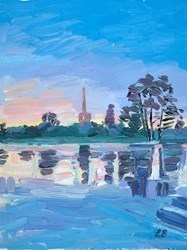 Cotswolds Reflections by Leila Barton -  sized 12x16 inches. Available from Whitewall Galleries